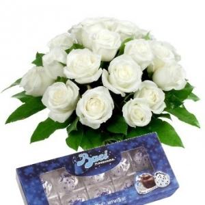 Bouquet rose bianche e baci