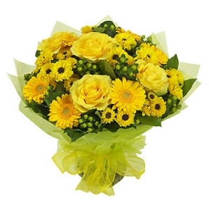 Bouquet with roses and gerberas