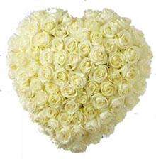Cuore con rose bianche