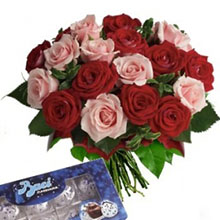 Bouquet pink roses and red roses and kisses