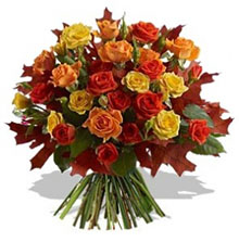 Bouquet with rose colored yellow and orange