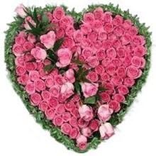 Cuore con rose rosa