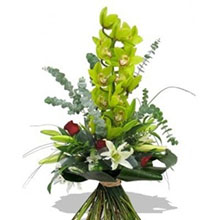 Bouquet with green orchids