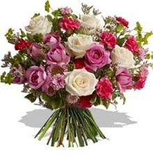 Bouquet con rose rosa e bianche