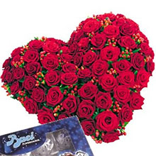 Heart of red roses and  kisses
