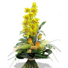 Mazzo con orchidee gialle