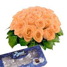 Bouquet orange roses and kisses