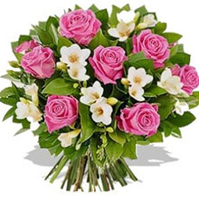 Bouquet roses and freesias